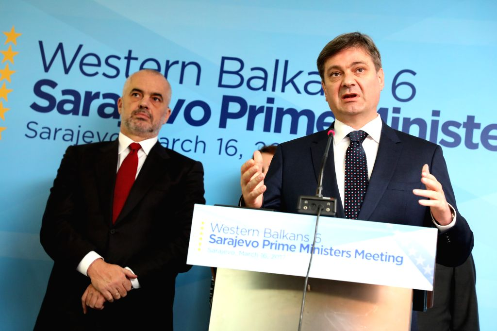 SARAJEVO, March 16, 2017 - Bosnia and Herzegovina (BiH)'s Chairman of Council of Ministers Denis Zvizdic (R) speaks during a press conference in the Parliament in Sarajevo, BiH, on March 16, 2017. ... - Denis Zvizdic