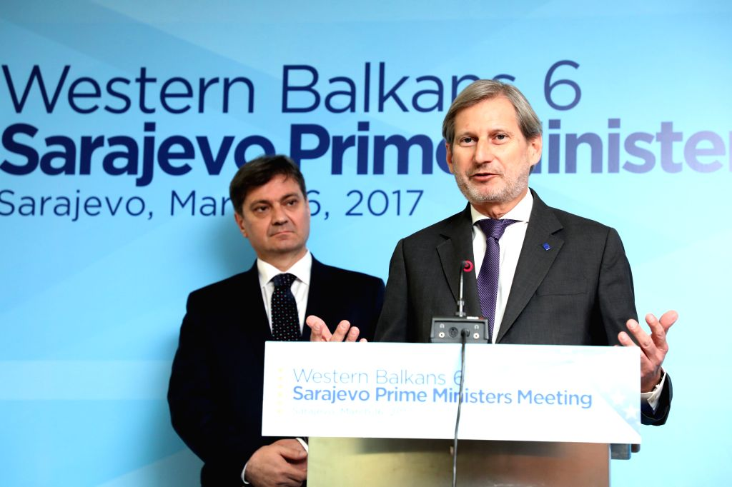 SARAJEVO, March 16, 2017 - EU Enlargement Commissioner Johannes Hahn (R) speaks during a press conference in the Parliament in Sarajevo, BiH, on March 16, 2017. Western Balkans must have a European ... - Denis Zvizdic