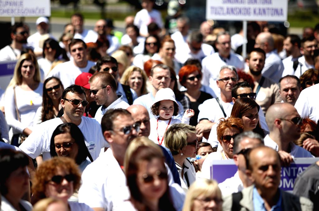 SARAJEVO, May 11, 2019 - Doctors take part in a protest rally in Sarajevo, Bosnia and Herzegovina, on May 11, 2019. Around 1,500 to 2,000 doctors from across Bosnia and Herzegovina protested in front ...