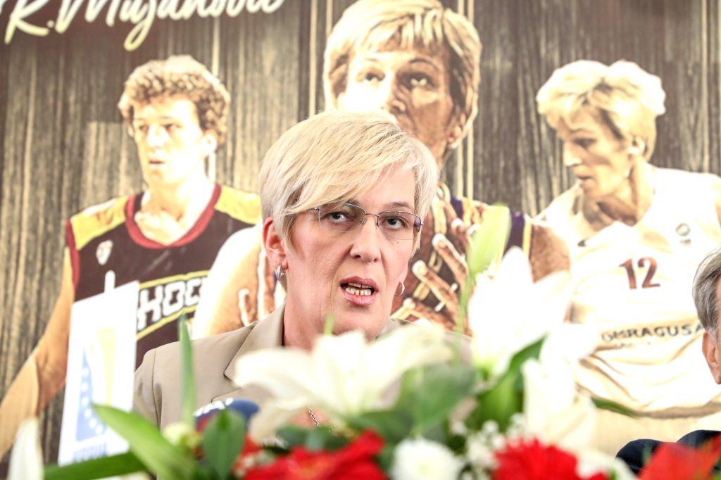 SARAJEVO, Oct. 10, 2017 - Legendary Bosnian basketball player Razija Mujanovic attends a press conference of the Basketball Association of Bosnia and Herzegovina (BiH) in Sarajevo, BiH, on Oct. 10, ...