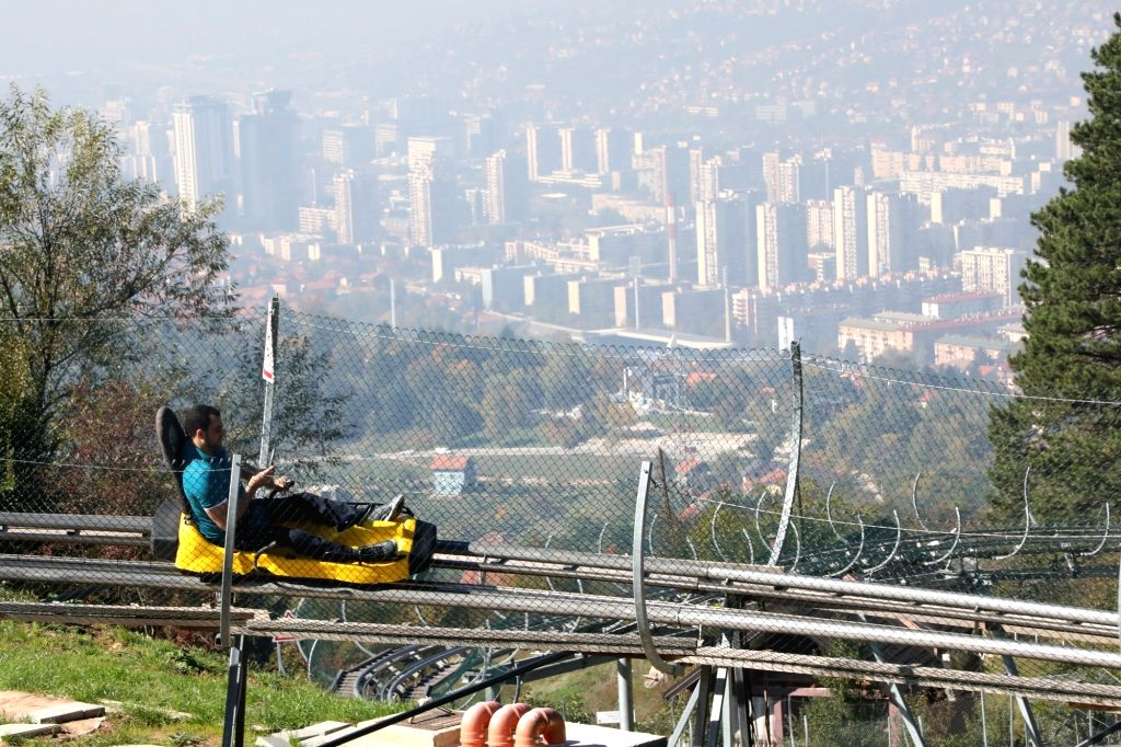 SARAJEVO, Oct. 12, 2017 - A man rides on the roller coaster at an amusement park on the Trebevic mountain in Sarajevo, Bosnia and Herzegovina, on Oct. 12, 2017.