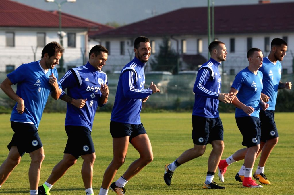 SARAJEVO, Oct. 3, 2017 - Players of the national football team of Bosnia and Herzegovina (BiH) attend the training in Sarajevo, BiH, on Oct. 2, 2017. Bosnia and Herzegovina will play two qualifying ...
