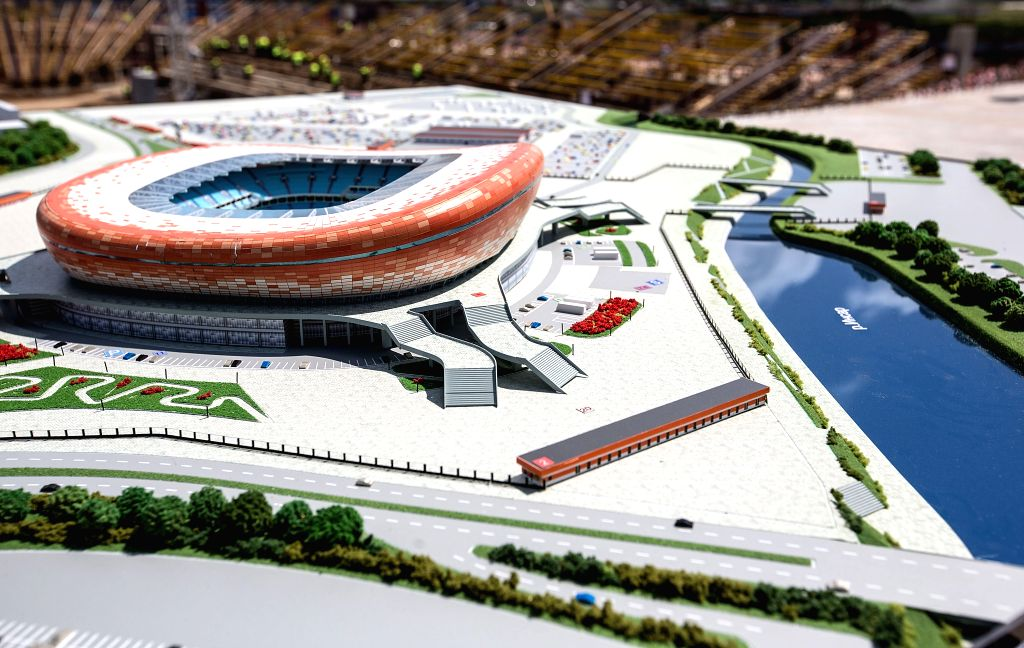 Photo taken on July 17, 2015 shows the model seen at the construction site of the Mordovia Arena in Saransk, Russia. Russia will host the FIFA World Cup soccer ...