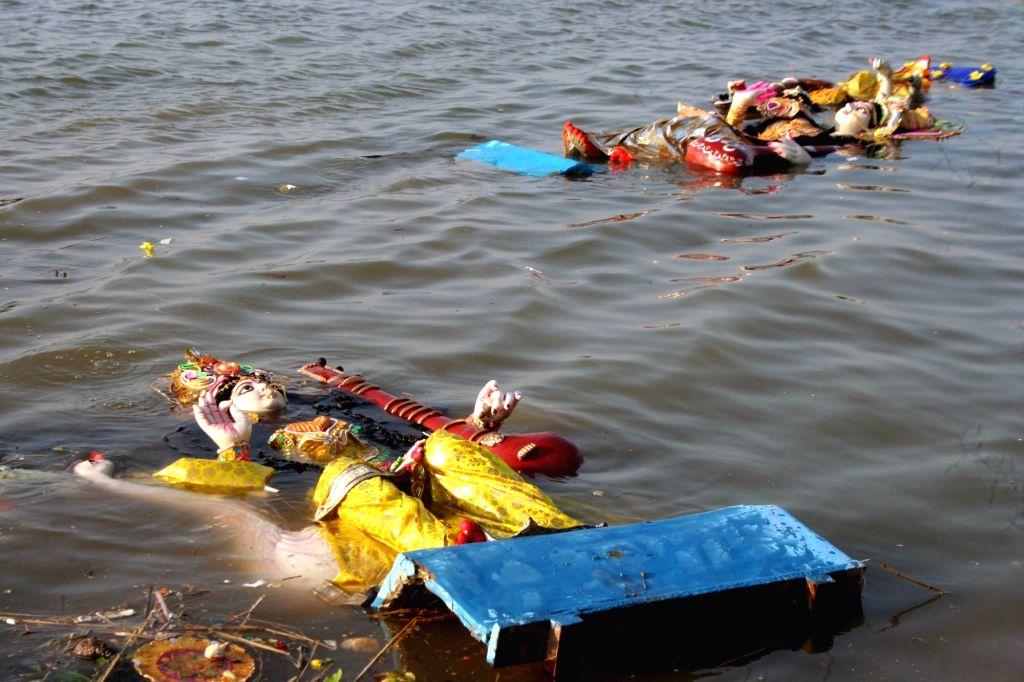 Saraswati idol immersions underway in Kolkata on Feb 11, 2019.