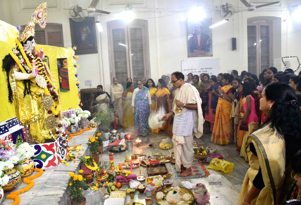 Saraswati Puja celebrations underway  in Kolkata, on Jan 22, 2018.