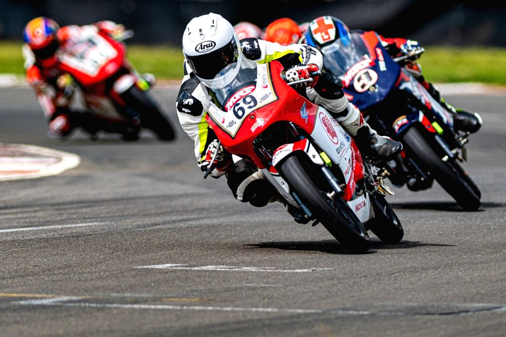 Sarath Kumar takes the first spot on the podium in the PS165cc category. - Sarath Kumar