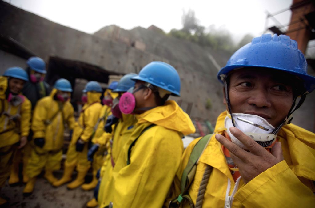 SARAYUNGA, April 18, 2017 - Chinese and Ecuadorian employees are seen at the site of the Minas-San Francisco hydroelectric project in Sarayunga, in the province of Azuay, Ecuador, on April 13, 2017. ...