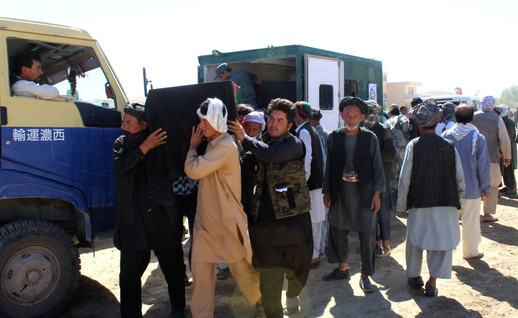 SARI PUL, Aug. 16, 2017 - People carry the coffin of a victim of militants attack in Mirza Olang district of Sari Pul province, Afghanistan, Aug. 16, 2017. Local Afghans and security forces ...