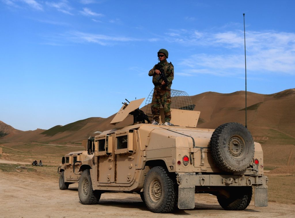 SARI PUL, Feb. 17, 2019 - An Afghan security force member stands on a military vehicle during a military operation in Sayad district of Sari Pul province, Afghanistan, Feb. 16, 2019. Afghan ...