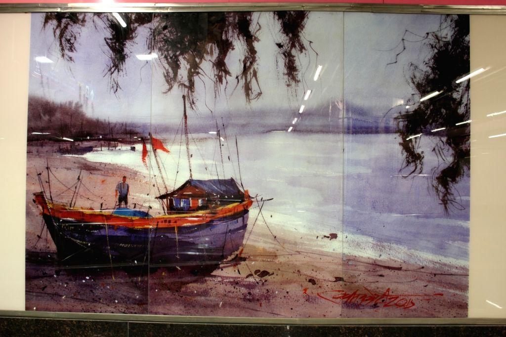 Sarojini Nagar metro station has some beautiful paintings to offer. (Photo Credit: DMRC)