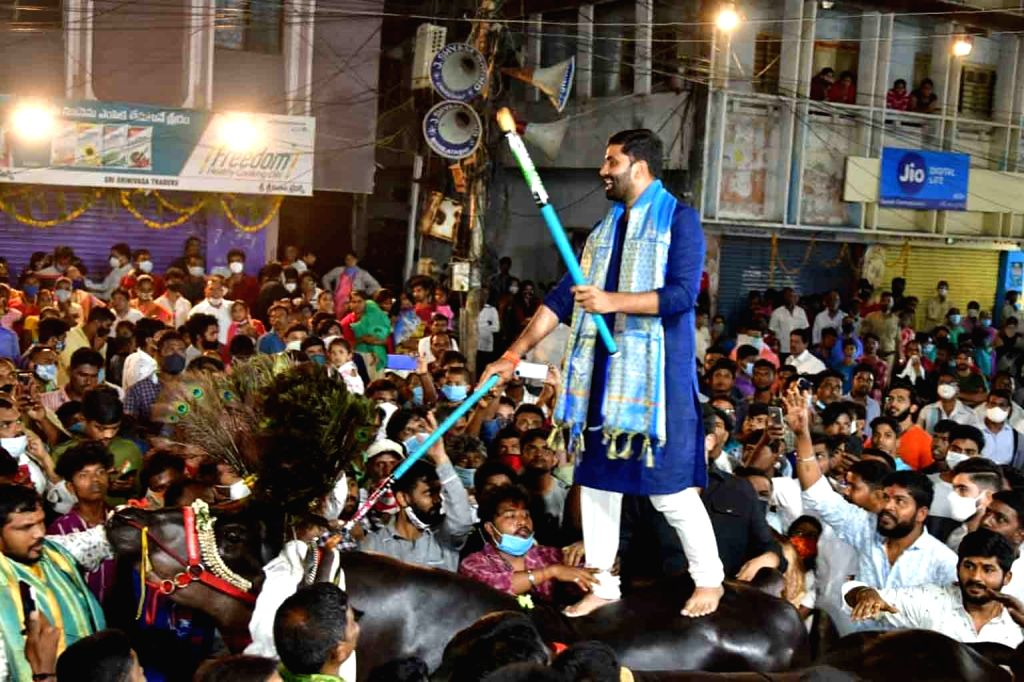 Sartaj, a Haryana bull weighing 1,600 kg at 6.5 feet, accompanied by another bull Shahenshah during Sadar, the carnival of bulls which is one of the popular festivities of the Yadav ...