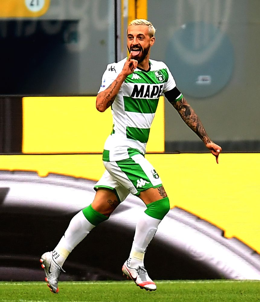 Sassuolo's Francesco Caputo celebrates his goal during a Serie A football match between FC Inter and Sassuolo in Milan, Italy, June 24, 2020.