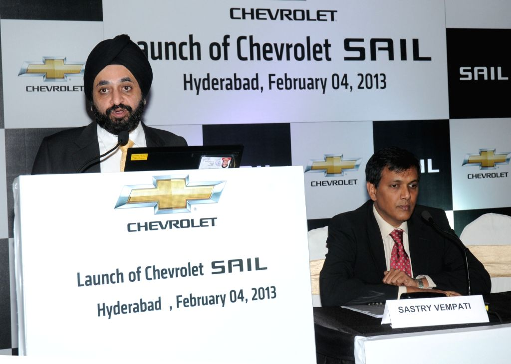 Sastry Vempati Vice President, Product Planning, General Motors and Gagandeep Singh at the launch of the Chevrolet Sail Premium Sedan in Hyderabad on Feb. 4. - Gagandeep Singh