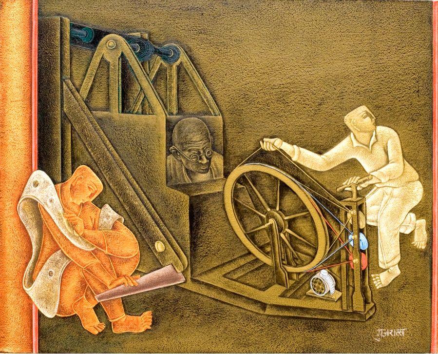 Satish Gujral, acrylic on canvas, 34x42, 2008. (Source: Triveni Kala Sangam)