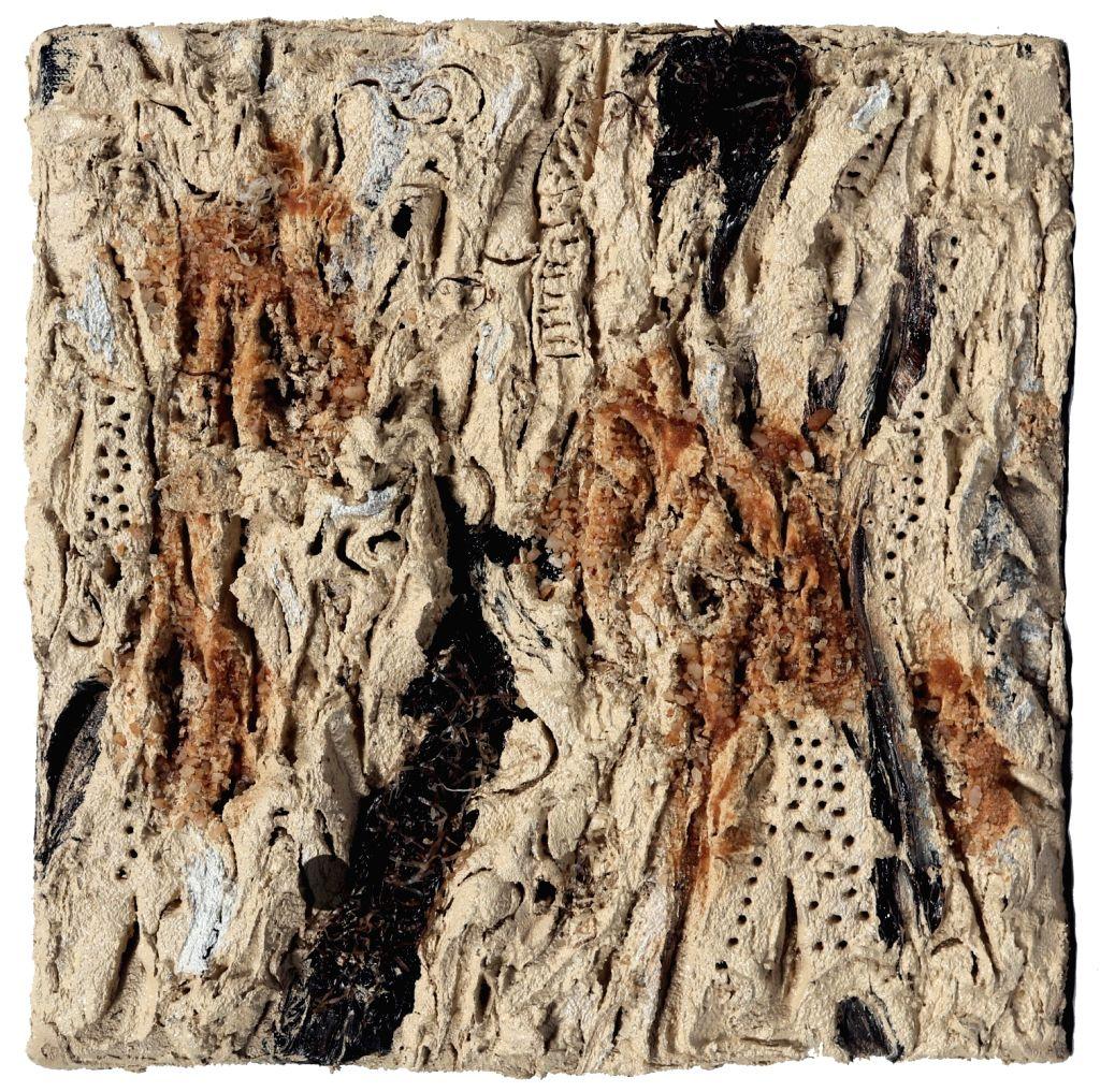 Satish Sharma, Sediment Hues 26, Oil sand, gravel and acrylic shavings on canvas. (Photo Source: Raza Foundation) - Satish Sharma