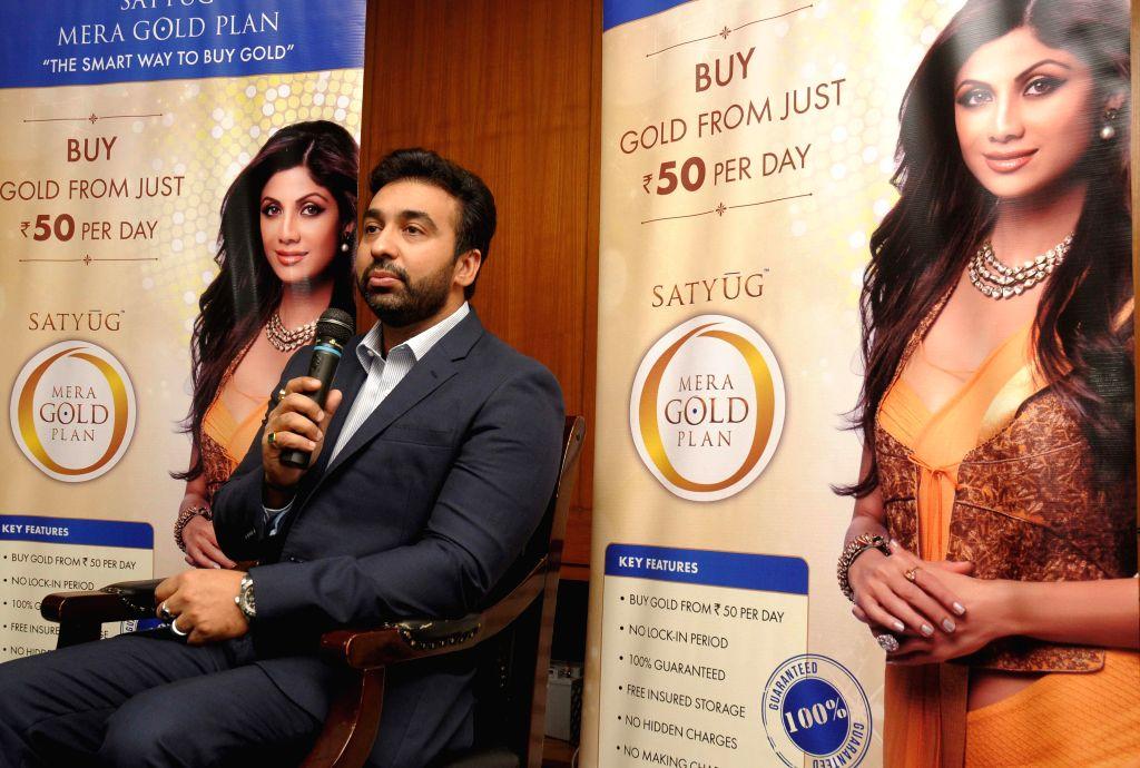 Satyug Gold CEO Raj Kundra during a press conference in Hyderabad on Aug 21, 2014. - Raj Kundra