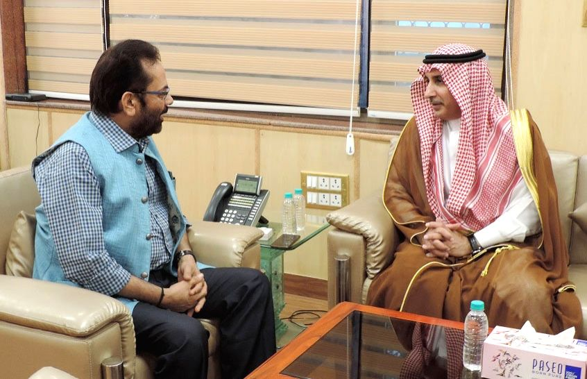 Saudi Arabia Ambassador to India, Dr. Mohammed Alsati calls on Minister of State for Minority Affairs (Independent Charge) and Parliamentary Affairs Mukhtar Abbas Naqvi in New Delhi on Aug ...