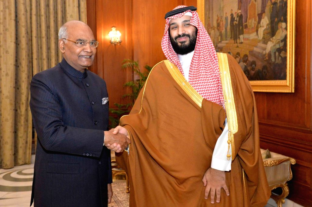 Saudi Crown Prince Mohammad Bin Salman calls on President Ram Nath Kovind at Rashtrapati Bhawan in New Delhi on Feb 20, 2019. - Nath Kovind
