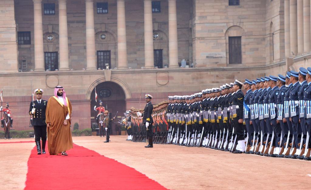 Saudi Crown Prince Mohammed bin Salman inspecting Guard of Honour during the ceremonial reception at Rashtrapati Bhavan in New Delhi on Feb. 20, 2019.