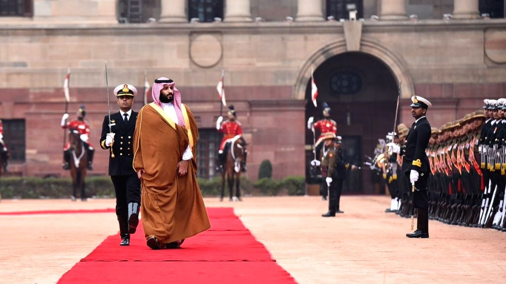Saudi Crown Prince Mohammed bin Salman inspects the Guard of Honour during a ceremonial reception organised for him at Rashtrapati Bhawan in New Delhi, on Feb 20, 2019.