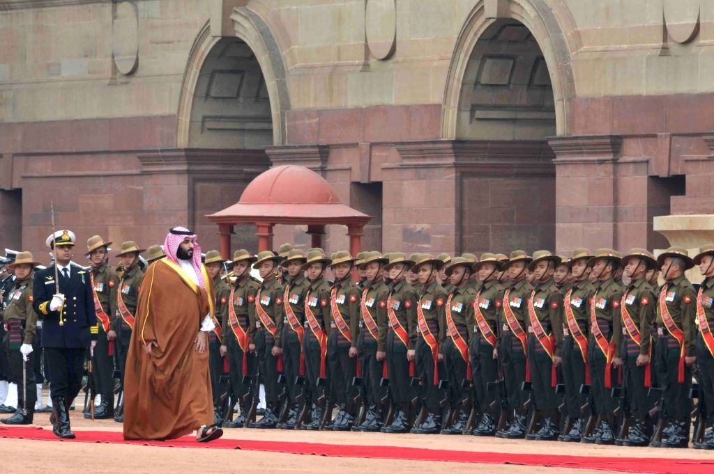 Saudi Crown Prince Mohammed bin Salman inspects Guard of Honour during a ceremonial reception organised for him at Rashtrapati Bhawan in New Delhi, on Feb 20, 2019.