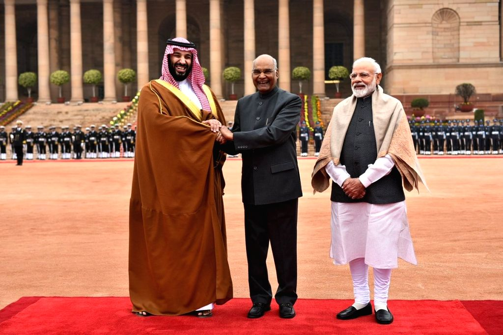 Saudi Crown Prince Mohammed bin Salman meets President Ram Nath Kovind and Prime Minister Narendra Modi during his ceremonial welcome in New Delhi, on Feb 20, 2019. - Narendra Modi and Nath Kovind