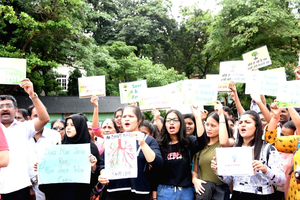 Save Aarey protesters stage a demonstration against the construction of the metro car depot which is scheduled to be constructed in Aarey forest at Azad Maidan in Mumbai on Sep 15, 2019.