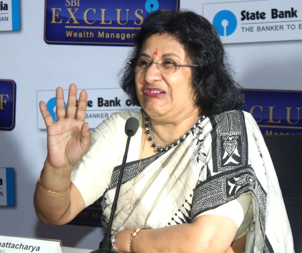 SBI Chairman Arundhati Bhatacharya addresses during the announcement of the SBI's Exclusive Wealth Management Services in New Delhi on July 29, 2016.