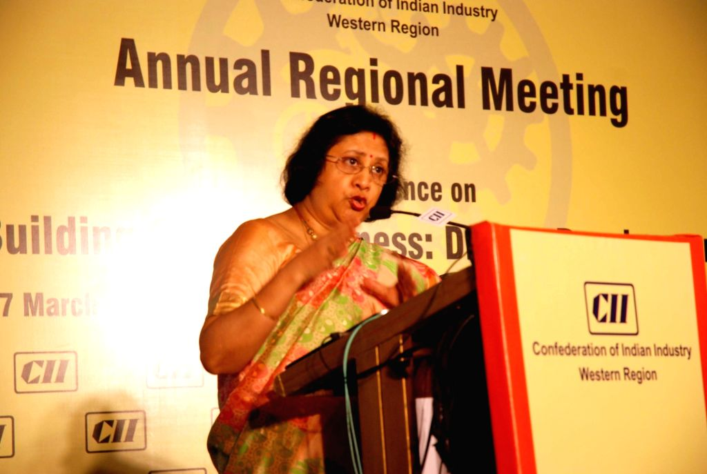 SBI Chairman Arundhati Bhattacharya addresses during Confederation of Indian Industry (CII) West Region Annual meeting in Mumbai on March 17, 2017.
