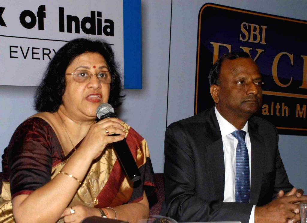SBI Chairman Arundhati Bhattacharya and National Banking Group MD Rajnish Kumar at the launch of SBI Exclusif Wealth Services and SBI In Cube in Bengaluru, on Jan 14, 2016. - Rajnish Kumar