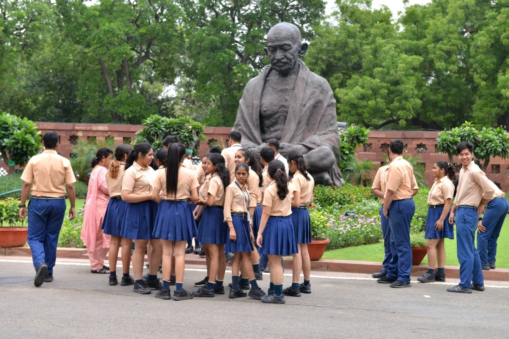 School students at Parliament, in New Delhi on July 16, 2019.