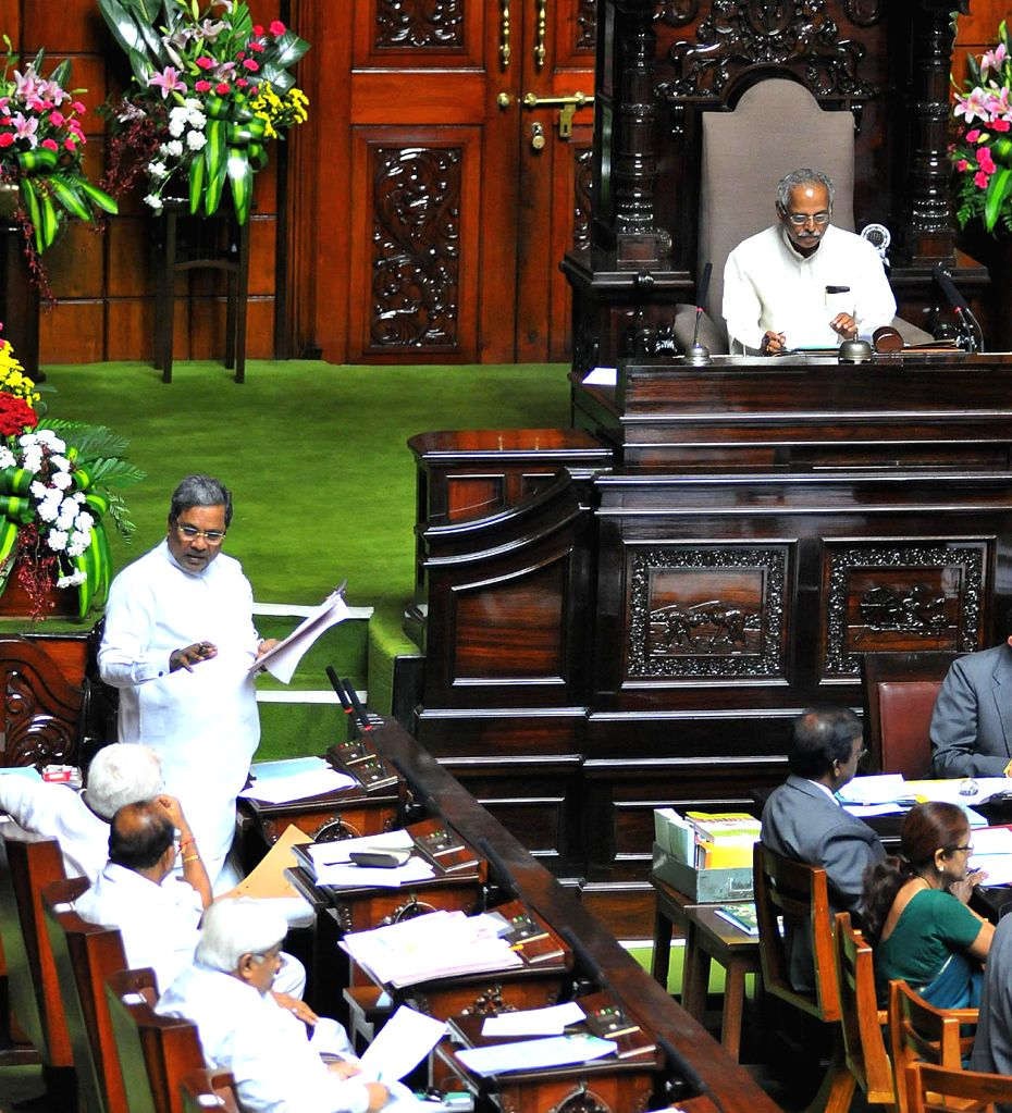 School students attend the Monsoon Session  of Karnataka Legislative Assembly in Bangalore on June 24, 2014.