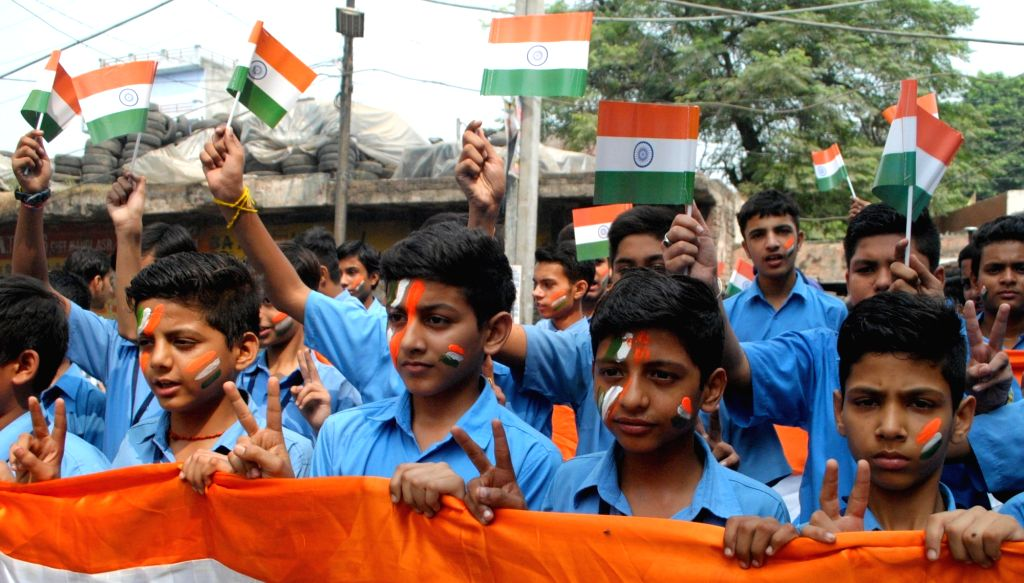 School students celebrate after Sept 29 surgical strikes carried out by the Indian Army across the LoC, in Amritsar on Sept 30, 2016.