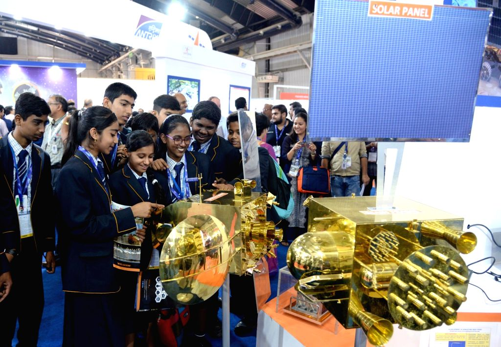 School students during an exhibition at the 6th Bengaluru Space Expo (BSX) 2018, in Bengaluru on Sept 6, 2018.