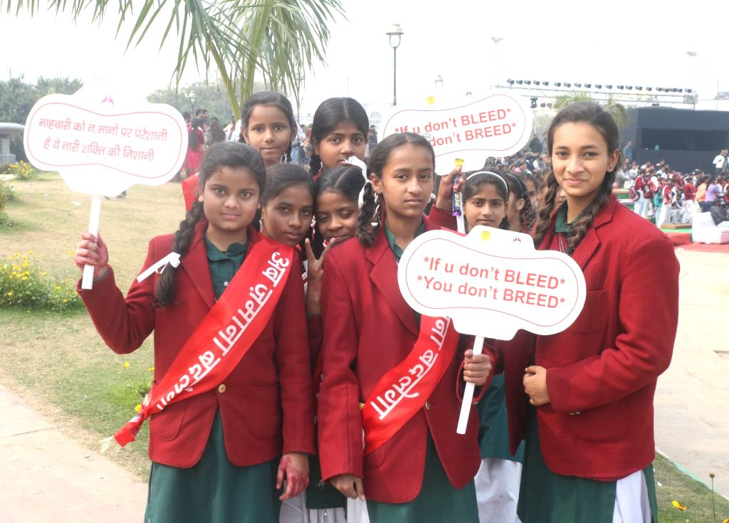 """School students during """"Menstrual Health and Awareness Day"""" programme organised by Delhi government in New Delhi, on Feb 5, 2019."""