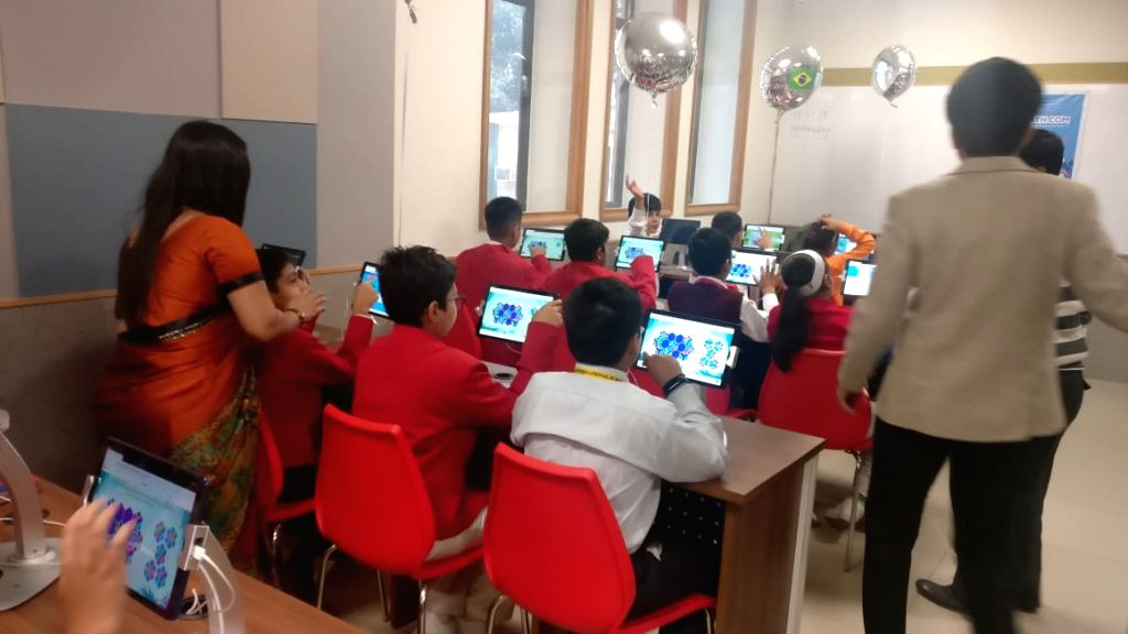 School students participate during the third International Online Competition in Mathematics; in New Delhi on Nov 13, 2019.