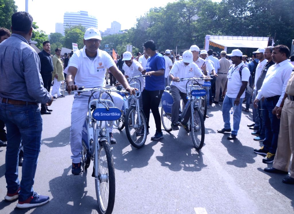 School students participate in a cycle rally organised as part of the 'Swachhata Hi Seva Movement', in New Delhi on Sept 15, 2018.