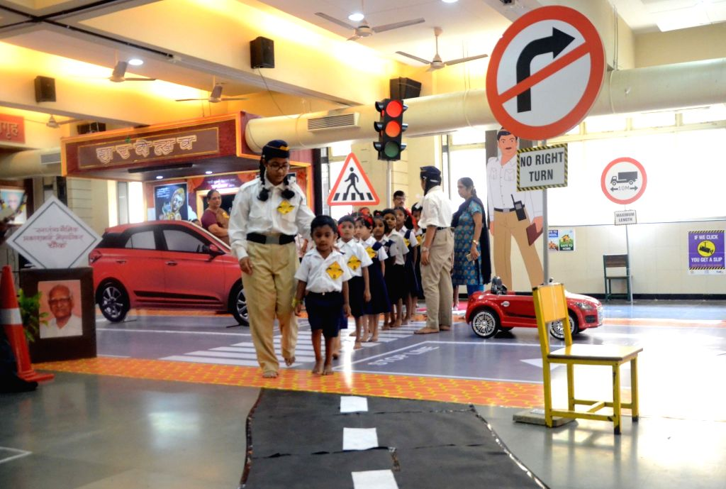 School students participate in a demonstration cum exhibition on road safety in Mumbai on Aug 8, 2017.
