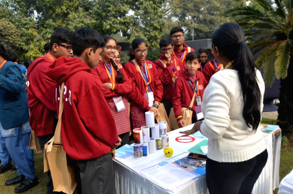 School students participate in a programme organised by United Nations Children's Fund (UNICEF) to celebrate 70 years in India working for the rights of every child; in New Delhi on Dec ...