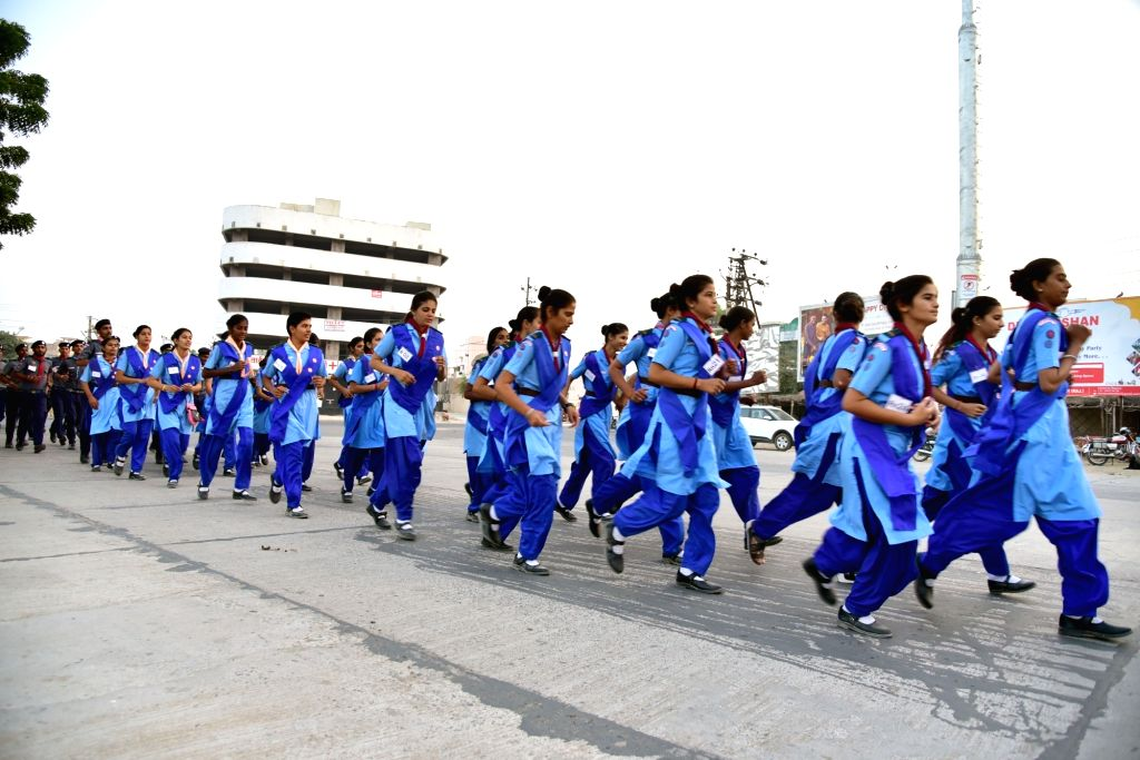School students participate in 'Run For Unity' on the occasion of 'Rashtriya Ekta Diwas' - birth anniversary of the country's first Home Minister Sardar Vallabhbhai Patel, in Rajasthan's ... - Sardar Vallabhbhai Patel