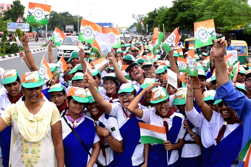"School students participate in ""Tiranga Yatra"" on the eve of Independence Day in Jaipur, on Aug 14, 2016."