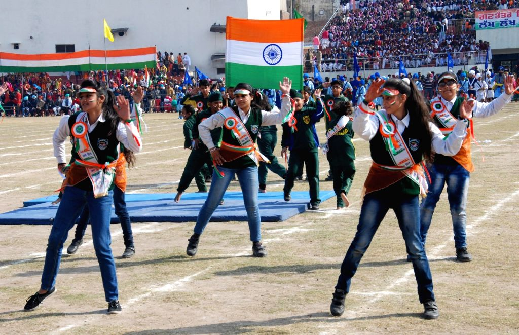 School students perform during 2019 Republic Day celebrations in Amritsar, on Jan 26, 2019.