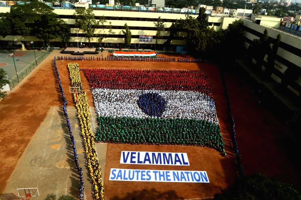 School students sit in tricolor formation ahead of Republic Day in Chennai on Jan 23, 2018.