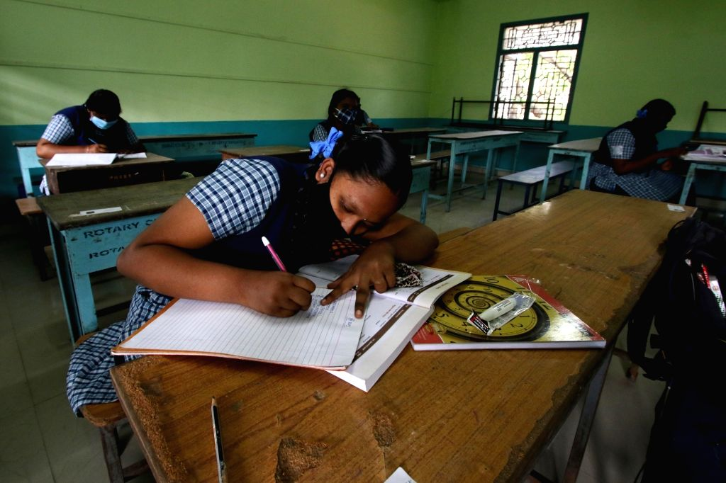 Schools reopen for class 10th and 12th students in Chennai after the Pongal Holiday on tuesday, January 19,2021