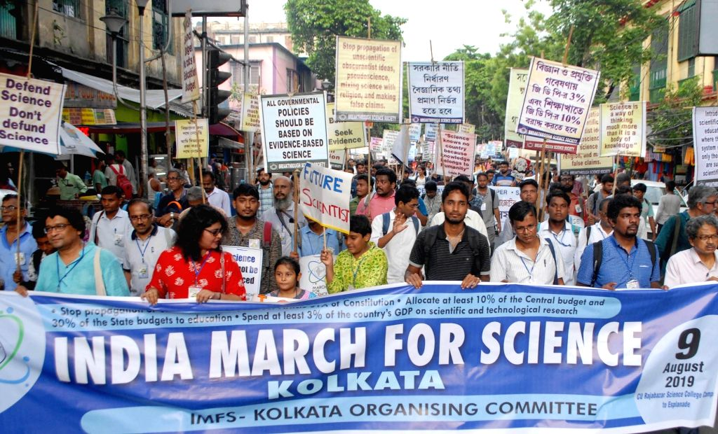 Science activists participate in India March for Science in Kolkata on August 9, 2019.