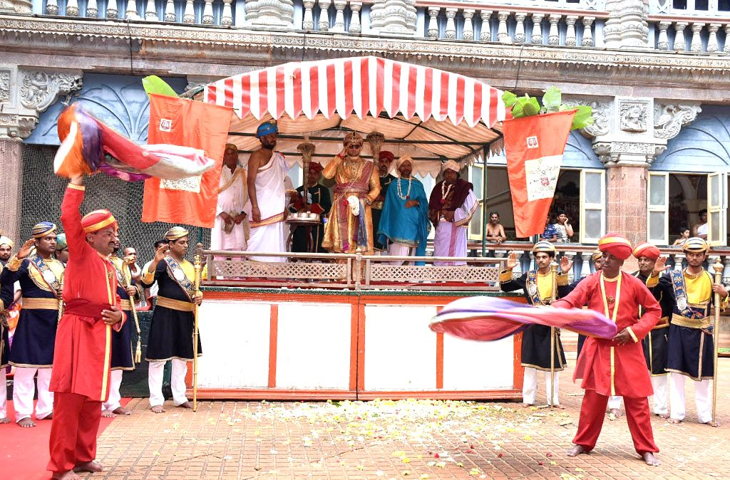 Scion Mysore royal family Yaduveer Krishnadatta Chamaraja Wadiyar during Ayudha Pooja at Mysore Palace on Oct 7, 2019.