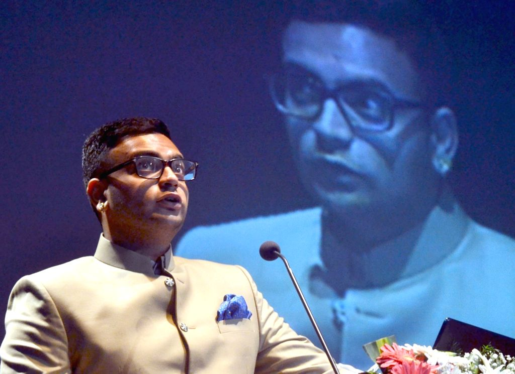 """Scion of Mysore Royal family Yaduveer Krishnadatta Chamaraja Wadiyar addresses during the foundation lecture on """"Mysore and Our Collective Culture"""" in Bengaluru on July 7, 2017."""