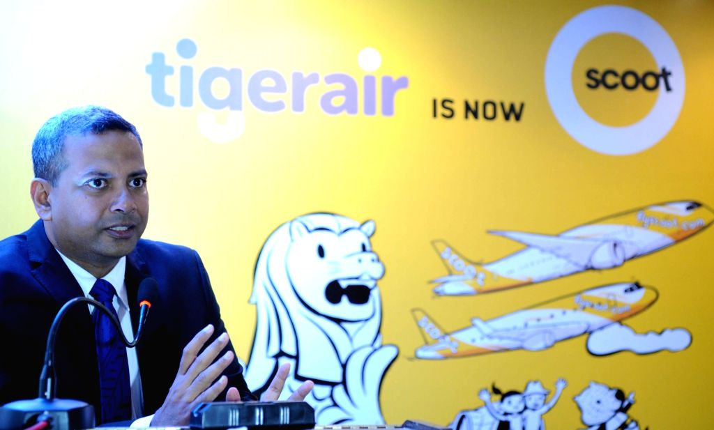 Scoot's country India chief Bharath Mahadevan addresses during the launch of Scoot Airlines in India, in Bengaluru on July 25, 2017.
