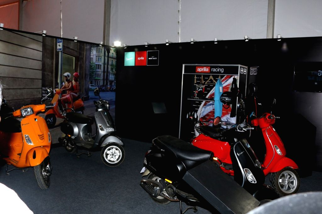 scooters displayed at the International Motor Show 2017, in Mumbai on March 9, 2017.