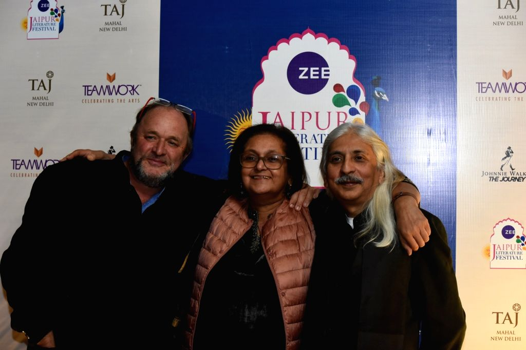Scottish historian William Dalrymple, writer and Jaipur Literature Festival (JLF) Festival Co-Director Namita Gokhale, and Teamwork Arts head Sanjoy K. Roy at the curtain raiser of ZEE Jaipur ... - Sanjoy K. Roy